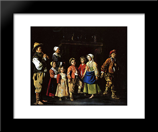 Dance Of The Children: Modern Black Framed Art Print by Le Nain brothers
