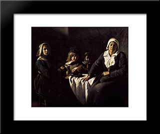Four Figures At Table: Modern Black Framed Art Print by Le Nain brothers