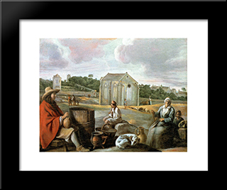 Landscape With Peasants And A Chapel: Modern Black Framed Art Print by Le Nain brothers