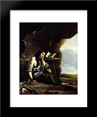 Mary Magdalene In Meditation: Modern Black Framed Art Print by Le Nain brothers