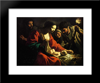 Nativity With The Torch: Modern Black Framed Art Print by Le Nain brothers