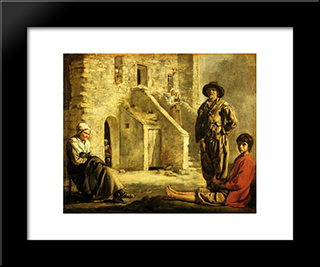 Peasants At Their Cottage Door: Modern Black Framed Art Print by Le Nain brothers