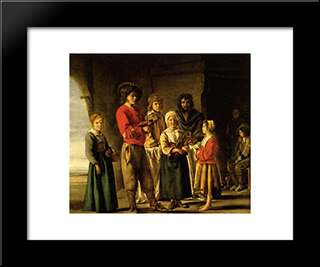 Peasants In The Cave House: Modern Black Framed Art Print by Le Nain brothers
