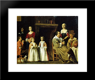 Portrait In An Interior: Modern Black Framed Art Print by Le Nain brothers