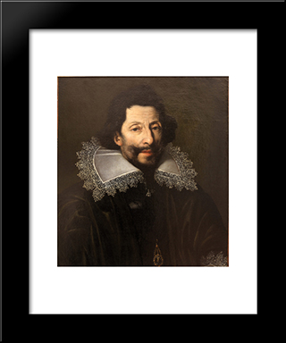 Portrait Of A Knight Of Saint Michael: Modern Black Framed Art Print by Le Nain brothers