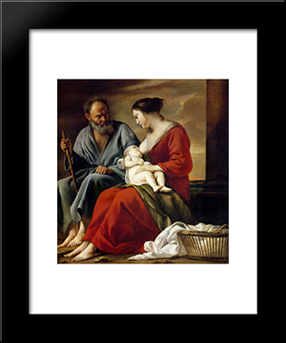 Rest Of The Holy Family: Modern Black Framed Art Print by Le Nain brothers