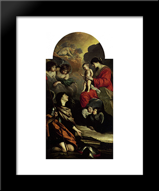 Saint Michael Dedicating His Weapons To The Virgin: Modern Black Framed Art Print by Le Nain brothers