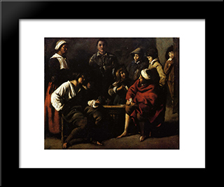 Small Card Players: Modern Black Framed Art Print by Le Nain brothers