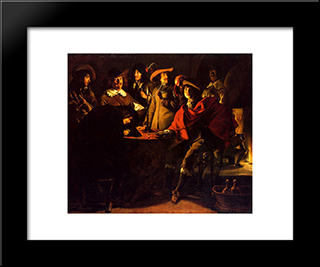Smokers In An Interior: Modern Black Framed Art Print by Le Nain brothers