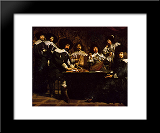 The Academy: Modern Black Framed Art Print by Le Nain brothers