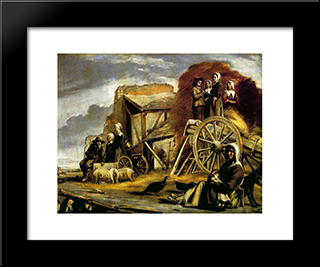 The Cart: Modern Black Framed Art Print by Le Nain brothers