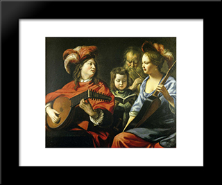 The Concert: Modern Black Framed Art Print by Le Nain brothers