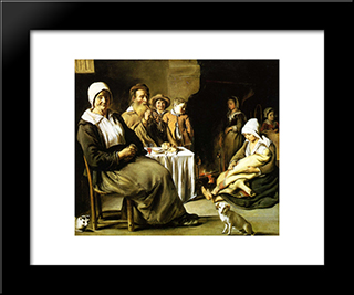 The Family Meal: Modern Black Framed Art Print by Le Nain brothers
