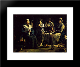 The Family Of The Peasants: Modern Black Framed Art Print by Le Nain brothers