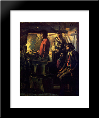 The Forging: Modern Black Framed Art Print by Le Nain brothers