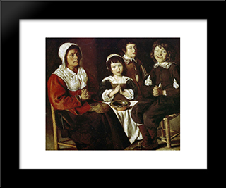 The Grace: Modern Black Framed Art Print by Le Nain brothers
