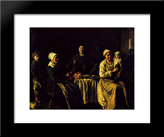 The Happy Family: Modern Black Framed Art Print by Le Nain brothers
