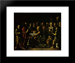 The Last Supper: Modern Black Framed Art Print by Le Nain brothers