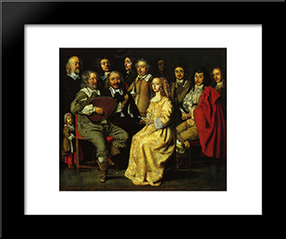 The Musical Meeting: Modern Black Framed Art Print by Le Nain brothers