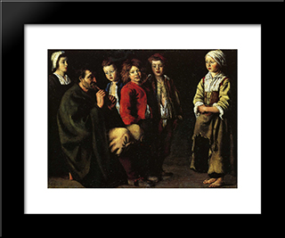 The Old Player Of Flageolet: Modern Black Framed Art Print by Le Nain brothers