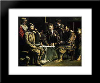 The Peasant'S Meal: Modern Black Framed Art Print by Le Nain brothers