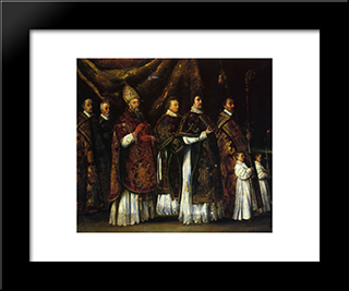 The Pontifical Mass: Modern Black Framed Art Print by Le Nain brothers