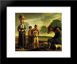 The Rest Of The Rider: Modern Black Framed Art Print by Le Nain brothers