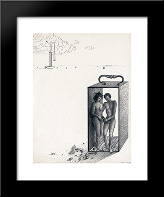Adam Et Eve: Modern Black Framed Art Print by Leon Arthur Tutundjian