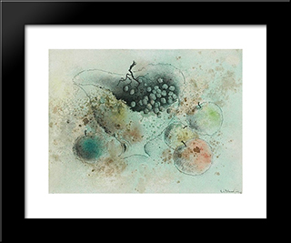 Nature Morte A La Coupe De Fruits: Modern Black Framed Art Print by Leon Arthur Tutundjian