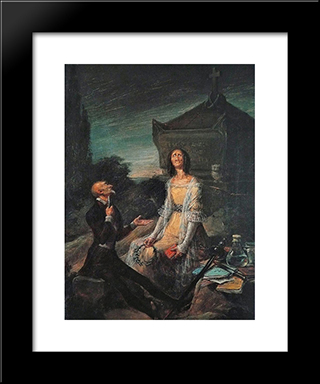 Satire Of Suicide From Love: Modern Black Framed Art Print by Leonardo Alenza