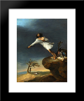 Satire Of The Romantic Suicide: Modern Black Framed Art Print by Leonardo Alenza