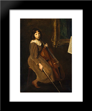A Young Violoncellist: Modern Black Framed Art Print by Lilla Cabot Perry