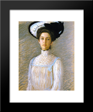 Alice In A White Hat: Modern Black Framed Art Print by Lilla Cabot Perry