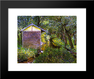 Brook And Wash-House, Giverny: Modern Black Framed Art Print by Lilla Cabot Perry