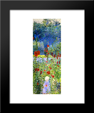 Child In A Gerden, Giverny: Modern Black Framed Art Print by Lilla Cabot Perry