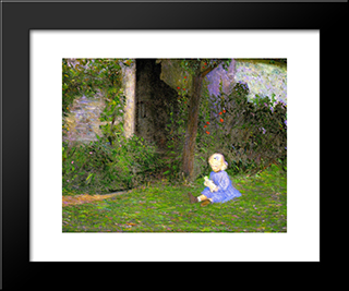 Child In A Walled Garden, Giverny: Modern Black Framed Art Print by Lilla Cabot Perry