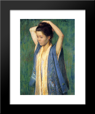 Child In Kimono: Modern Black Framed Art Print by Lilla Cabot Perry