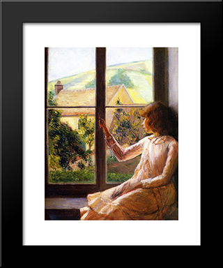 Child In Window: Modern Black Framed Art Print by Lilla Cabot Perry