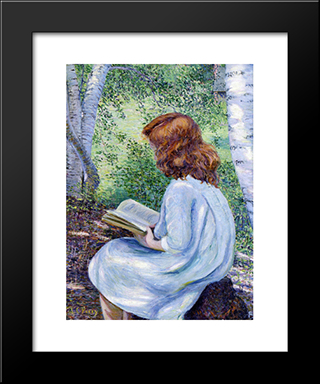 Child With Red Hair Reading: Modern Black Framed Art Print by Lilla Cabot Perry