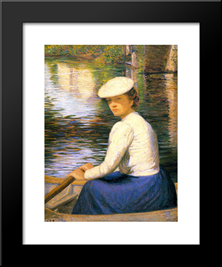 Dans Un Bateau (In A Boat): Modern Black Framed Art Print by Lilla Cabot Perry