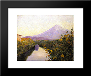 Fuji From The Canal, Iwabuchi: Modern Black Framed Art Print by Lilla Cabot Perry