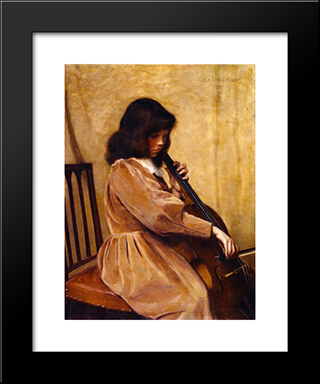 Girl Playing A Cello: Modern Black Framed Art Print by Lilla Cabot Perry
