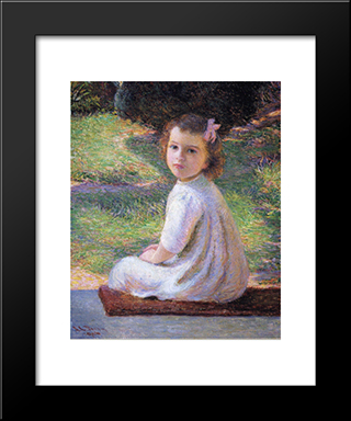 Girl With A Pink Bow: Modern Black Framed Art Print by Lilla Cabot Perry