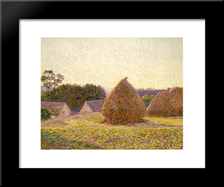 Haystacks, Giverny: Modern Black Framed Art Print by Lilla Cabot Perry