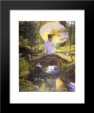 In A Japanese Garden: Modern Black Framed Art Print by Lilla Cabot Perry