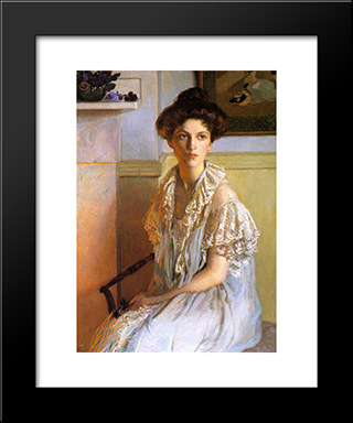 Lady With A Bowl Of Violets: Modern Black Framed Art Print by Lilla Cabot Perry