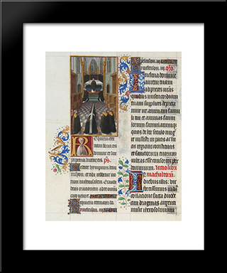A Funeral Service: Modern Black Framed Art Print by Limbourg brothers