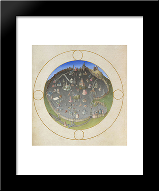 A Plan Of Rome: Modern Black Framed Art Print by Limbourg brothers