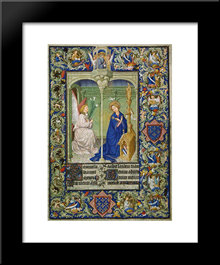 Annunciation: Modern Black Framed Art Print by Limbourg brothers