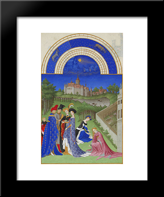 April Courtly Figures In The Castle Grounds: Modern Black Framed Art Print by Limbourg brothers